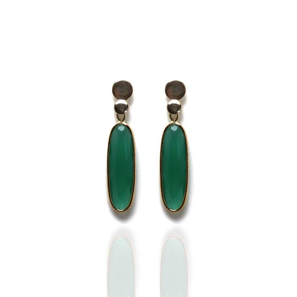 Brinco Barbara Strauss Cristal Verde, Revestido Em Ouro 18K