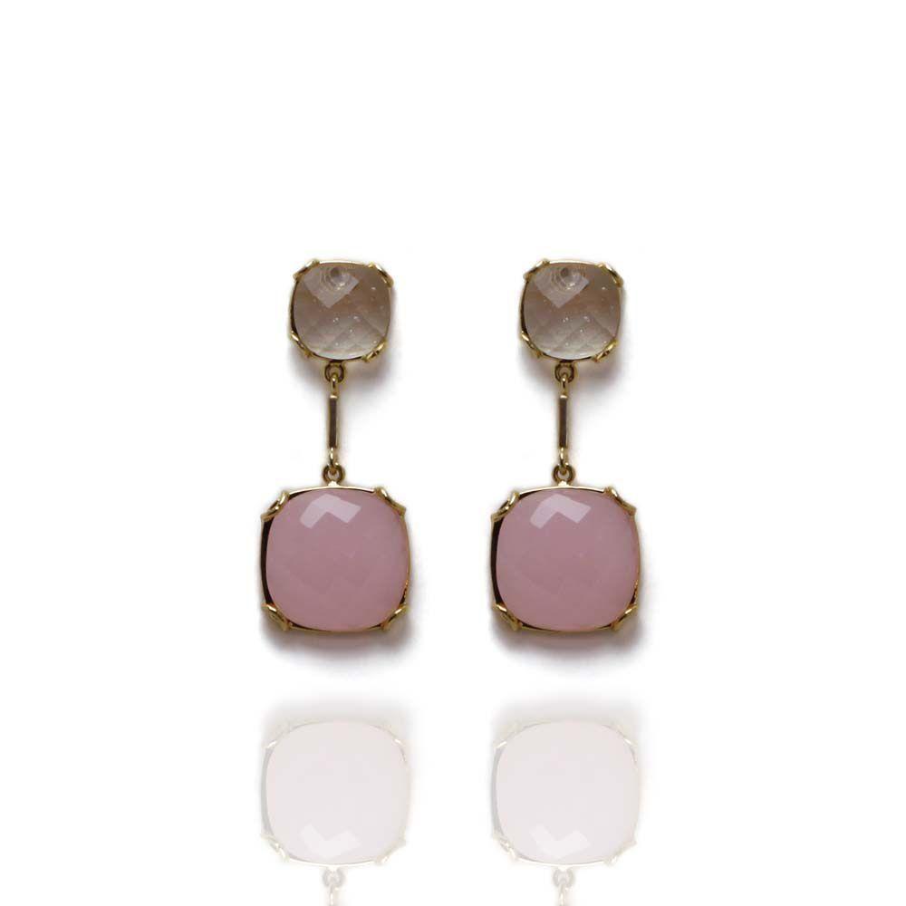 Brinco Barbara Strauss Em Resina Lalique,Revestido Em Ouro 18K
