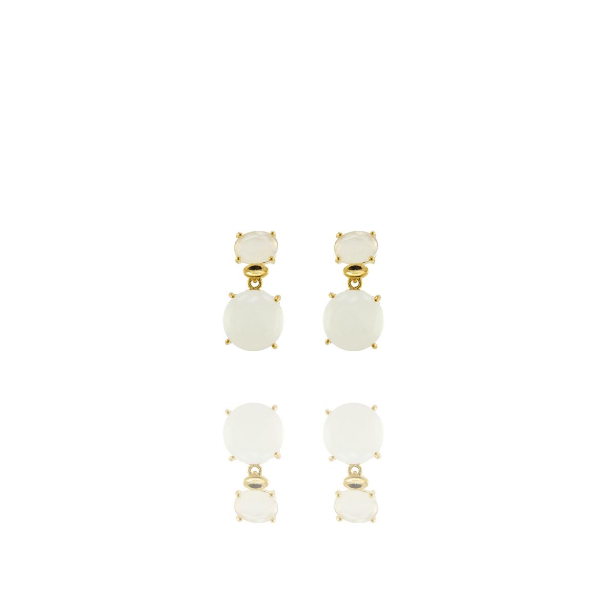 Brinco Barbara Strauss Esmirna Quartzo Cristal Leitoso, Revestido Em Ouro 18K