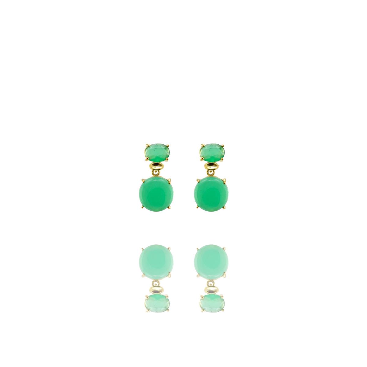 Brinco Barbara Strauss Esmirna Quartzo Verde, Revestido Em Ouro 18K