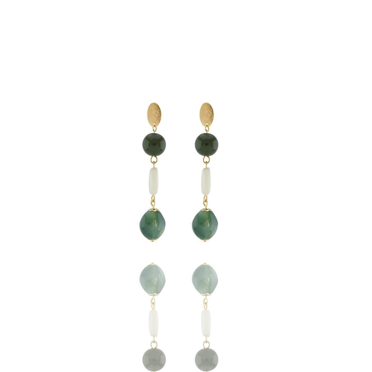 Brinco Barbara Strauss Esperia Em Resina Lalique Colorido,Revestido Em Ouro 18K