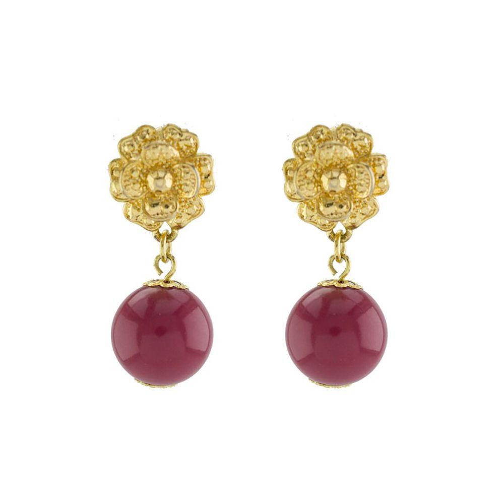 Brinco Barbara Strauss Evosmos Em Resina Lalique Vinho,Revestido Em Ouro 18K