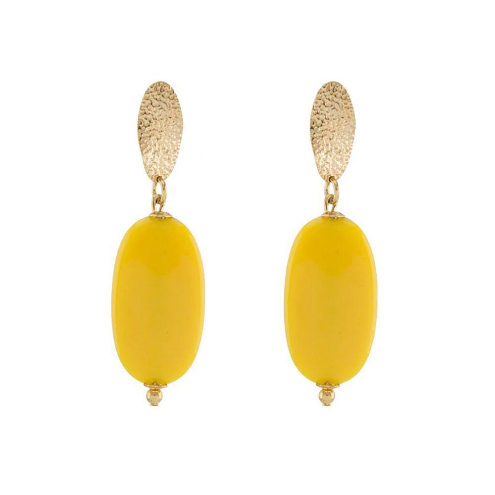 Brinco Barbara Strauss Halandri Em Resina Lalique Amarela, Revestido Em Ouro 18K