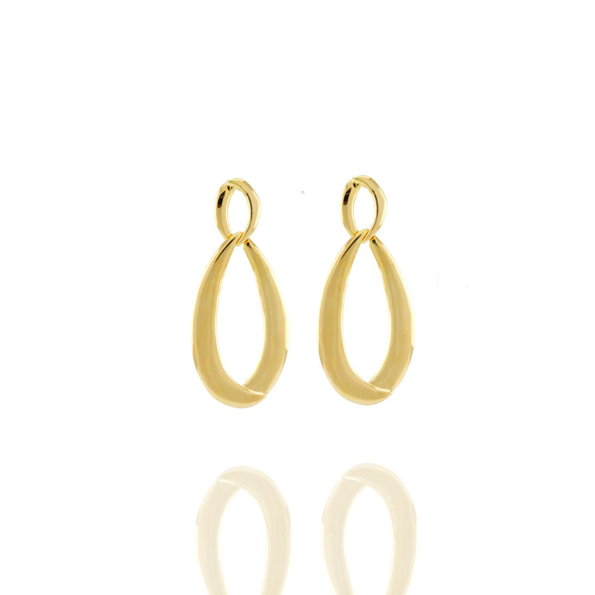 Brinco Barbara Strauss Infinit Em Metal Dourado,Revestido Em Ouro 18K