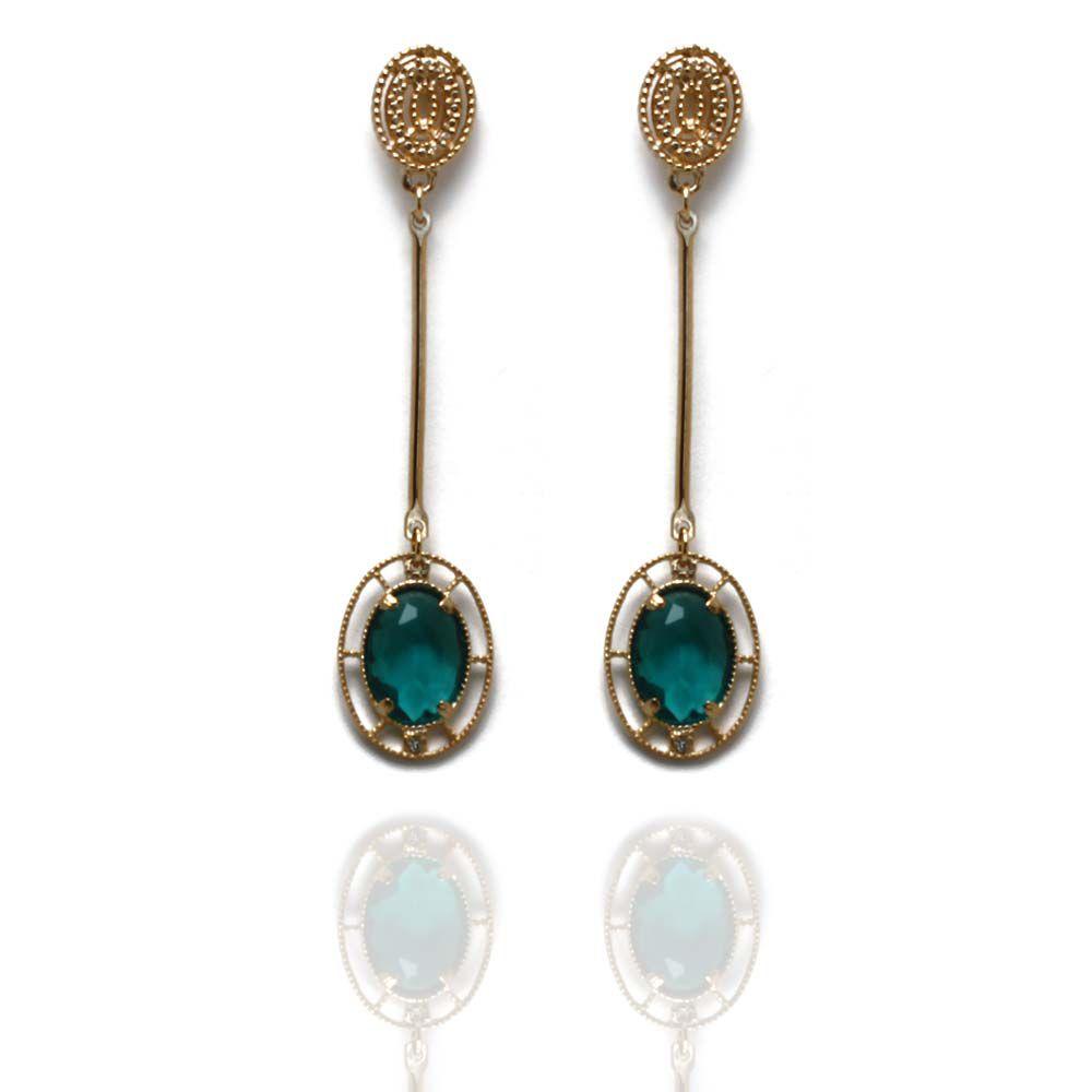 Brinco Barbara Strauss Iris Cristal Verde, Revestido Em Ouro 18K