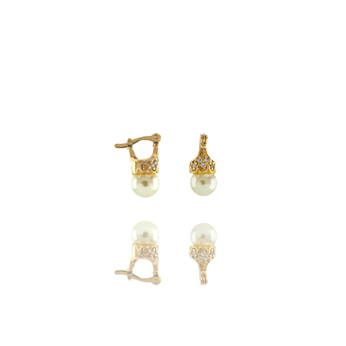 Brinco Barbara Strauss Lady Em Pérola Lalique E Zircônia, Revestido Em Ouro 18K