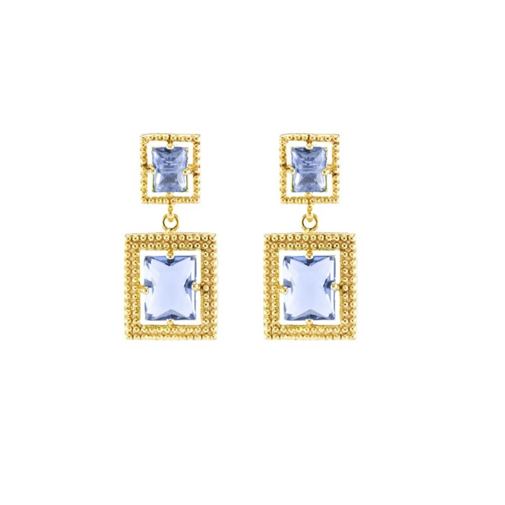 Brinco Barbara Strauss Live Cristal Azul Banho Dourado