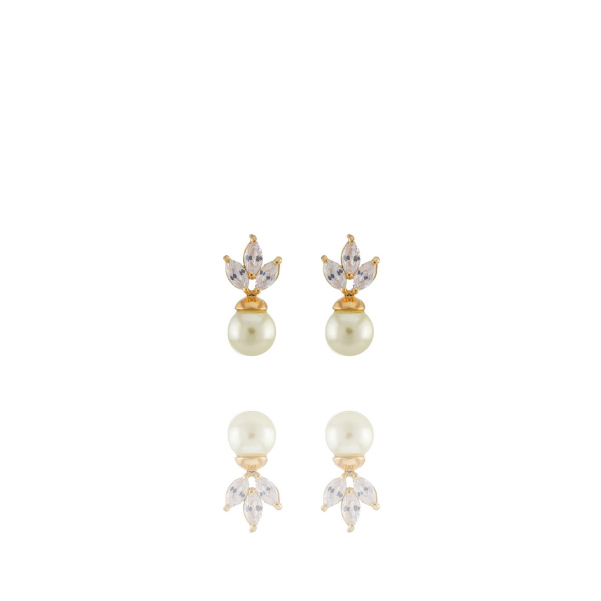 Brinco Barbara Strauss Liz Em Pérola Lalique E Zircônia, Revestido Em Ouro 18K