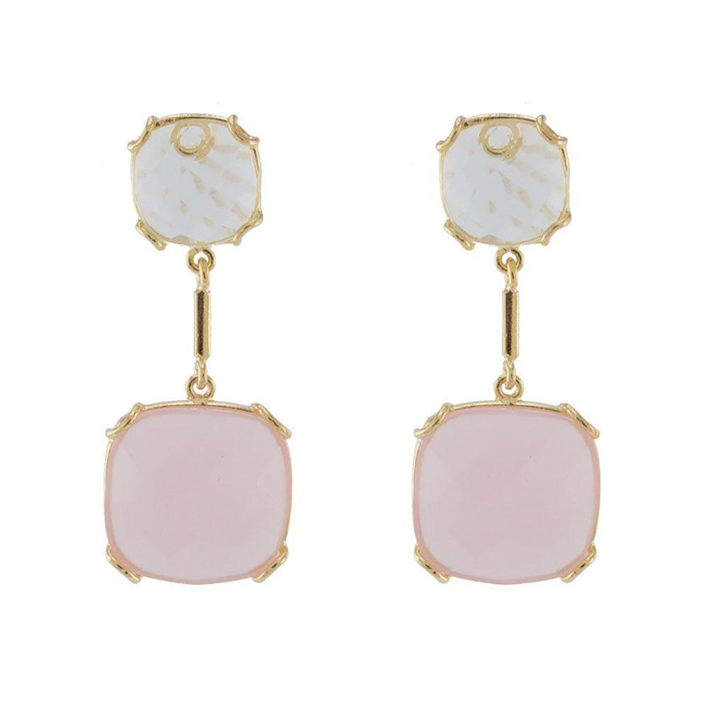 Brinco Barbara Strauss Luv Pedra Rosa E Cristal, Revestido Em Ouro 18K