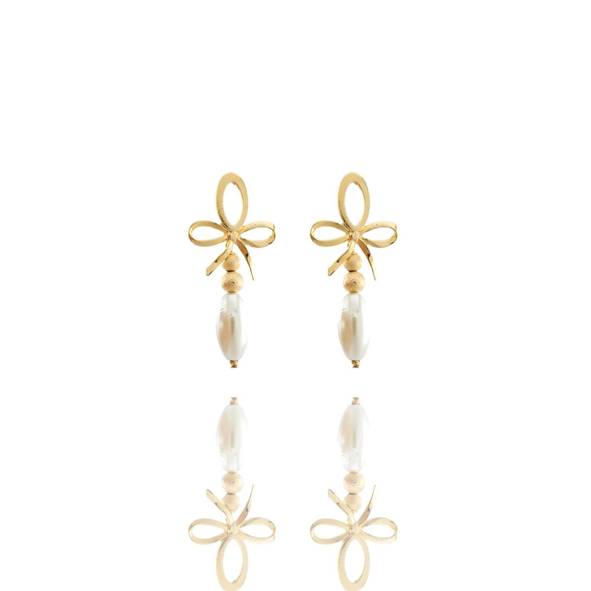 Brinco Barbara Strauss Mégara Em Pérola Lalique, Revestido Em Ouro 18K