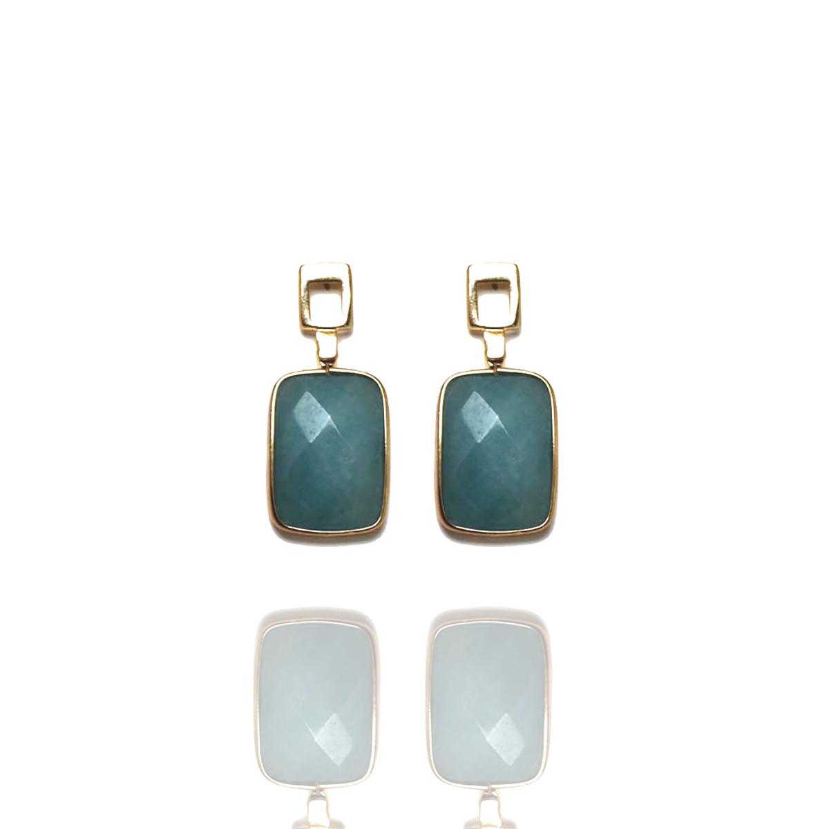 Brinco Barbara Strauss Pedra Natural Ágata Azul, Revestido Em Ouro 18K