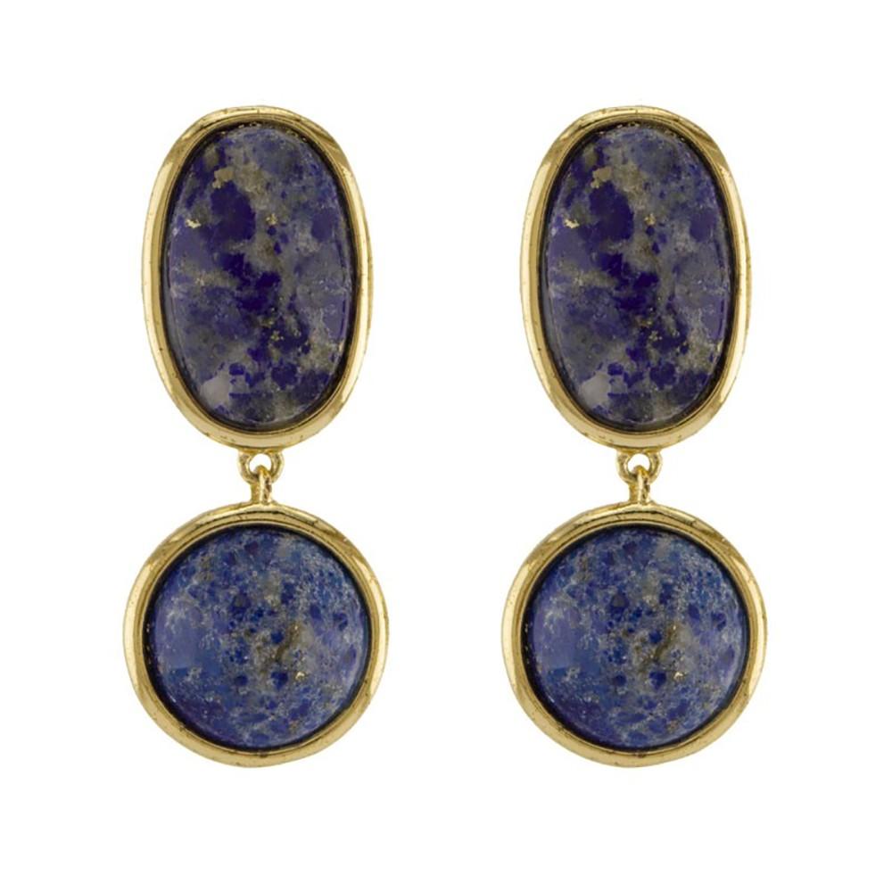 Brinco Barbara Strauss Pedra Sodalita Azul, Revestido Em Ouro 18K