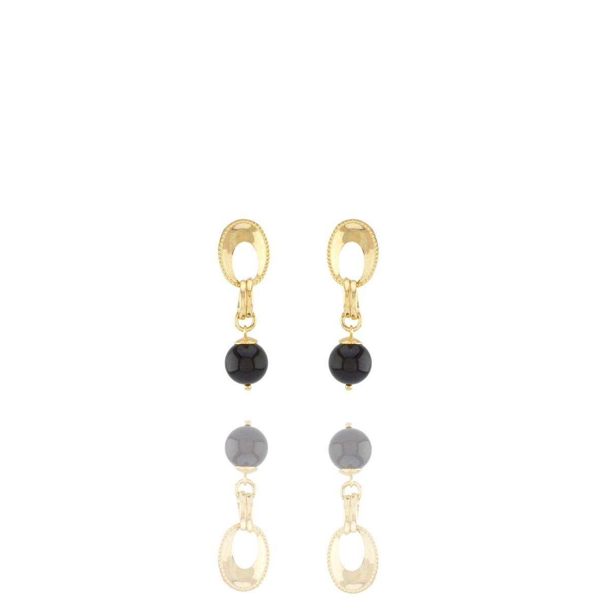 Brinco Barbara Strauss Petro Em Resina Lalique Preta,Revestido Em Ouro 18K