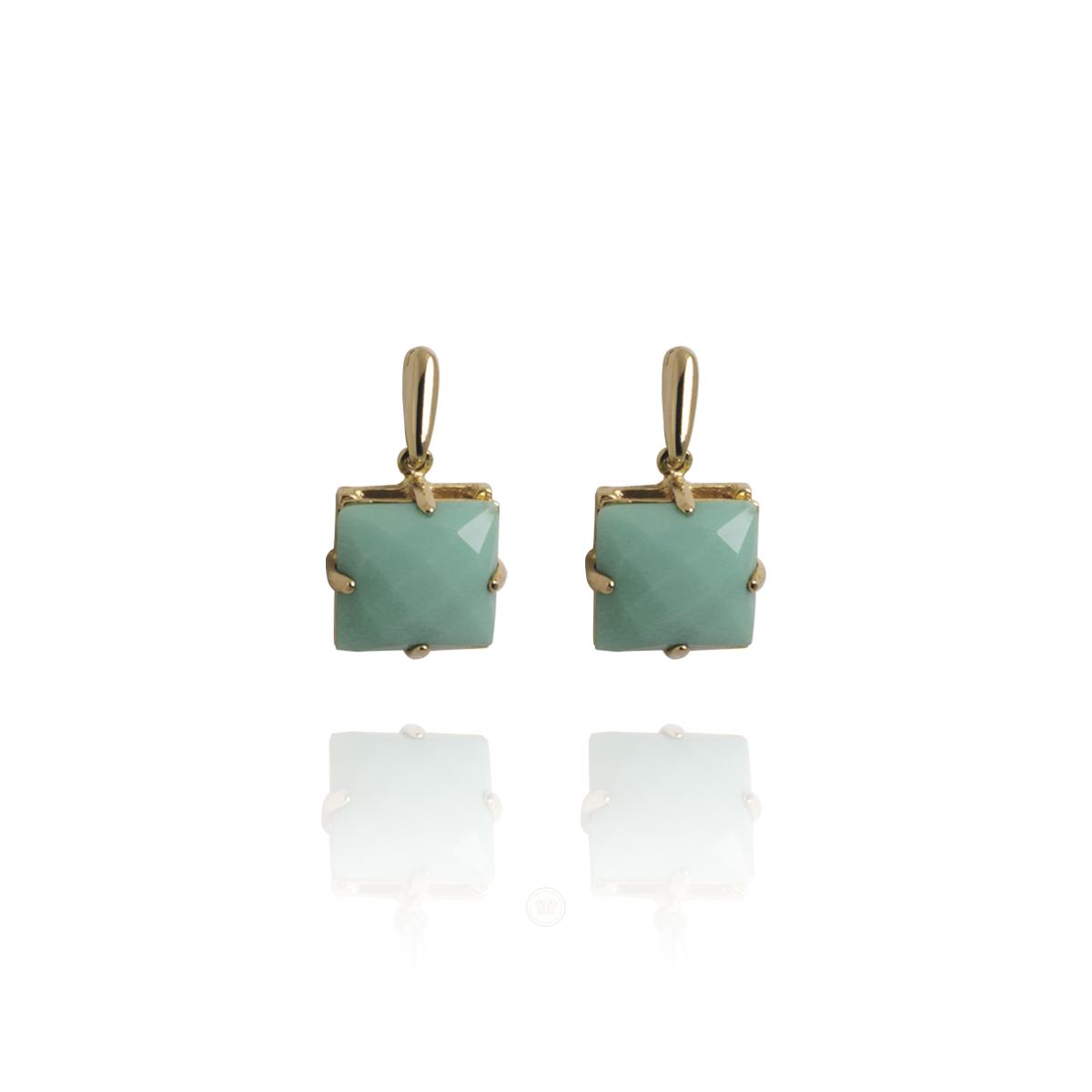 Brinco Barbara Strauss Semi Joia Barrie Em Resina Lalique Verde, Revestido Em Ouro Amarelo 18K