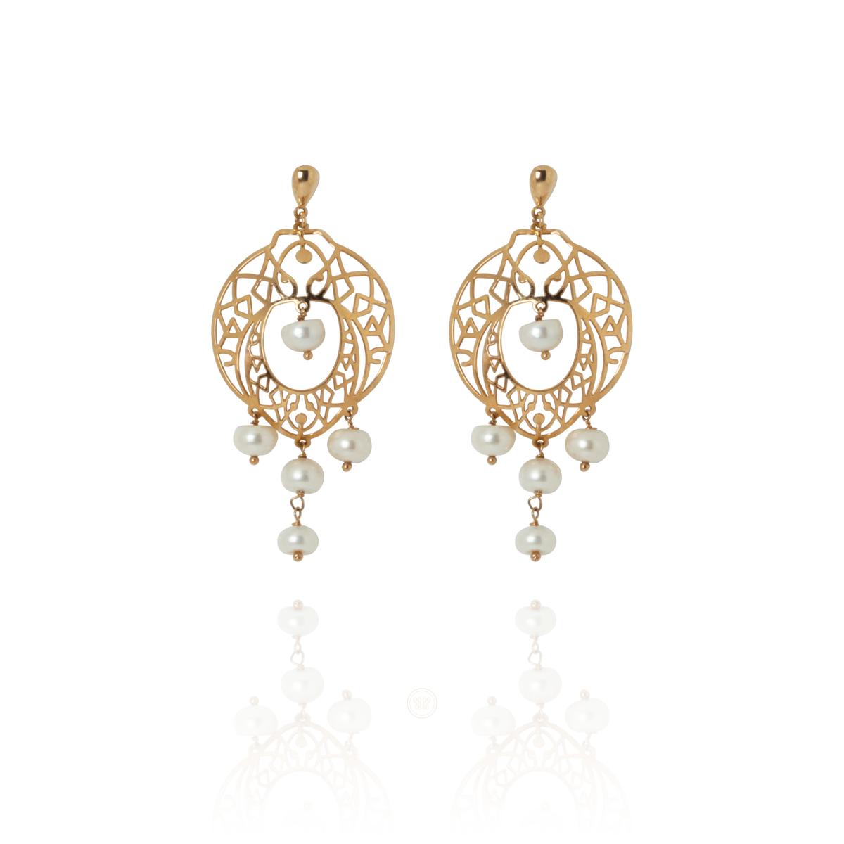 Brinco Barbara Strauss Semi Joia Durban De Pérola Lalique, Rev. Em Ouro 18K