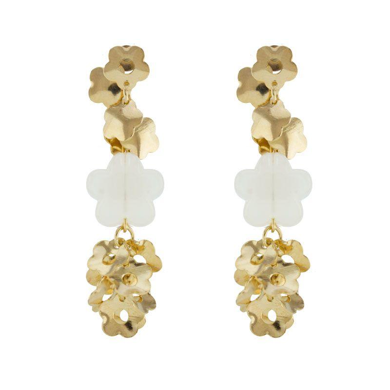 Brinco Barbara Strauss Semi Joia Flores Em Resina Lalique, Rev. Em Ouro Amarelo 18K