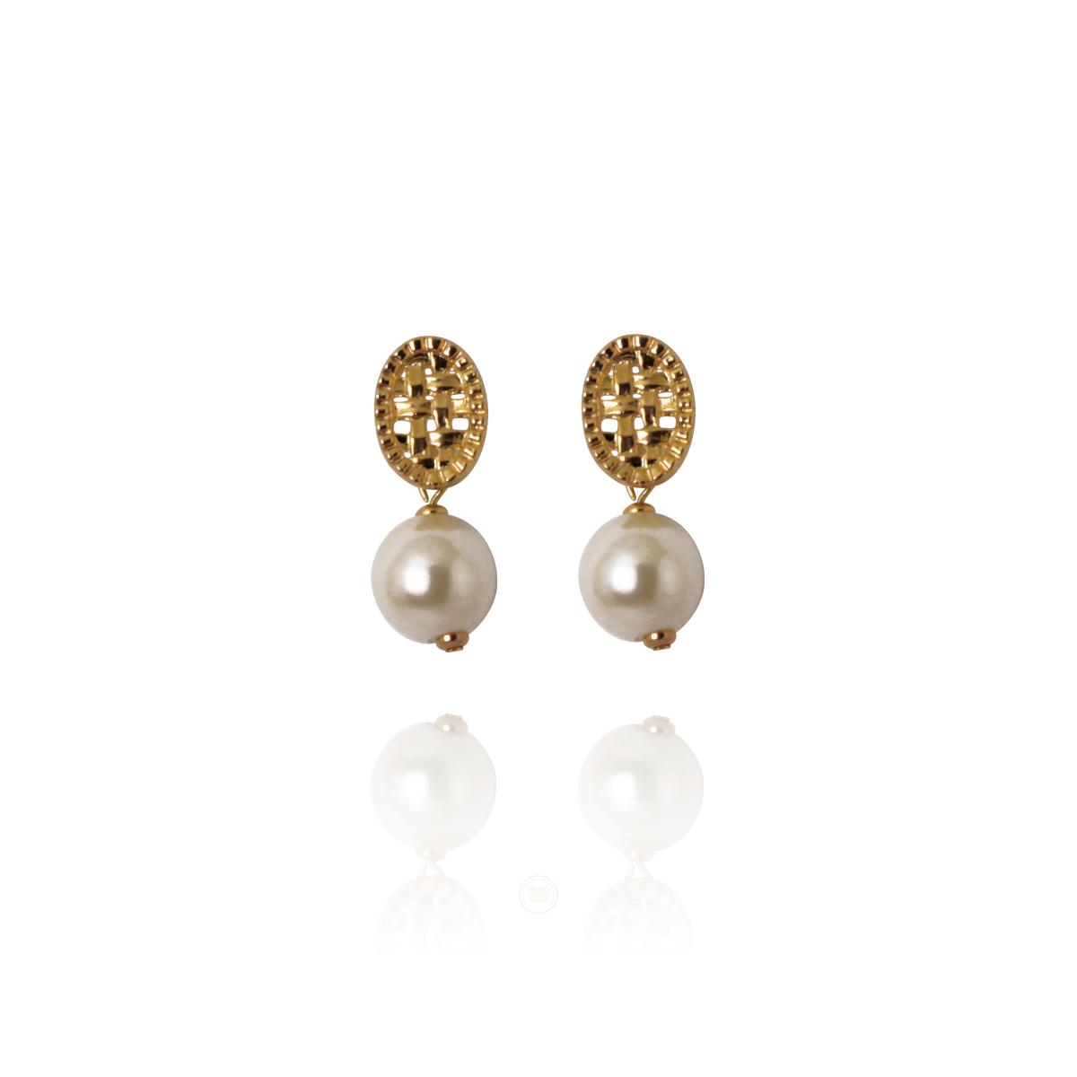 Brinco Barbara Strauss Semi Joia Muizenberg De Pérola Lalique, Rev. Em Ouro 18K