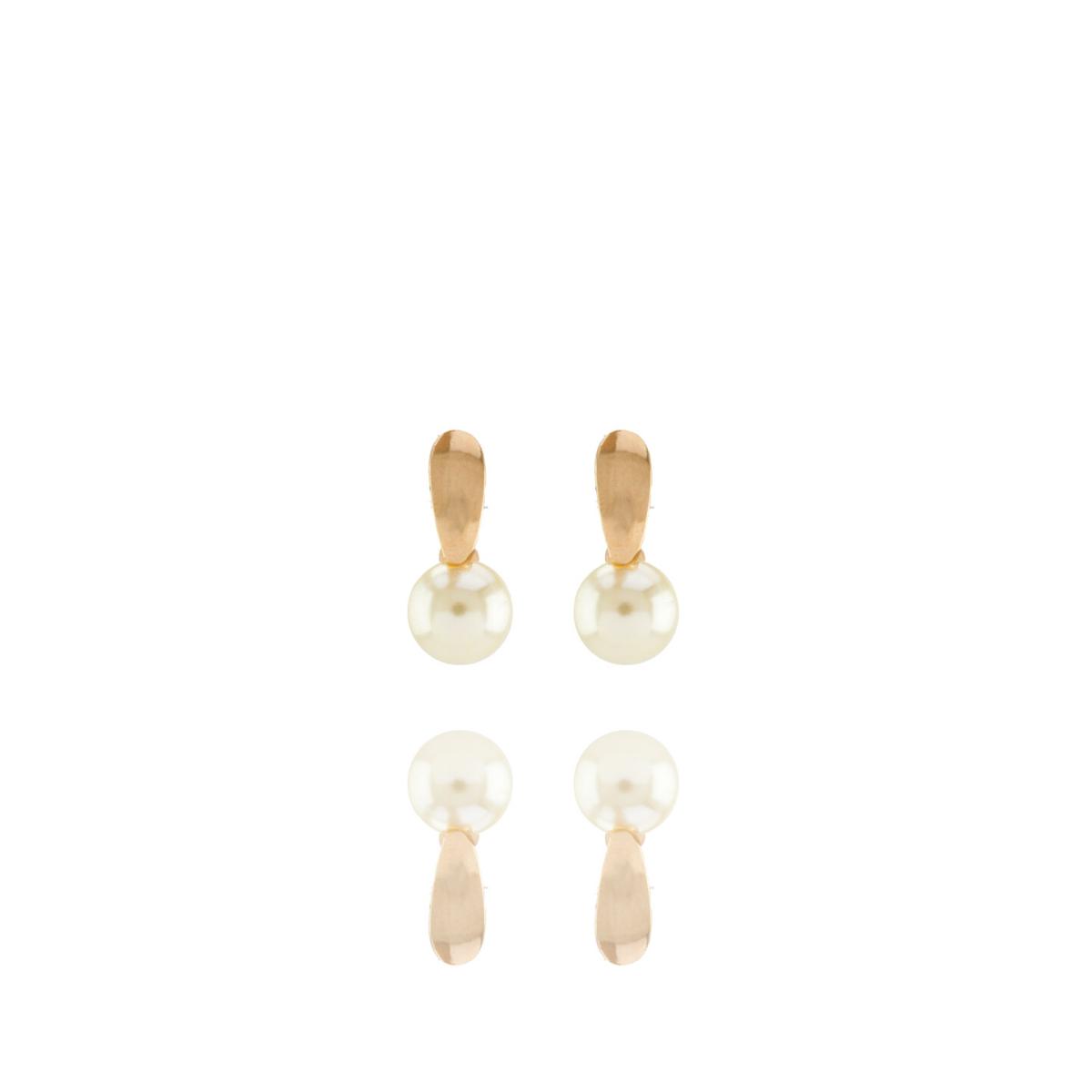 Brinco Barbara Strauss Semi Joia Pireu Em Pérola Lalique, Revestido Em Ouro Amarelo 18K