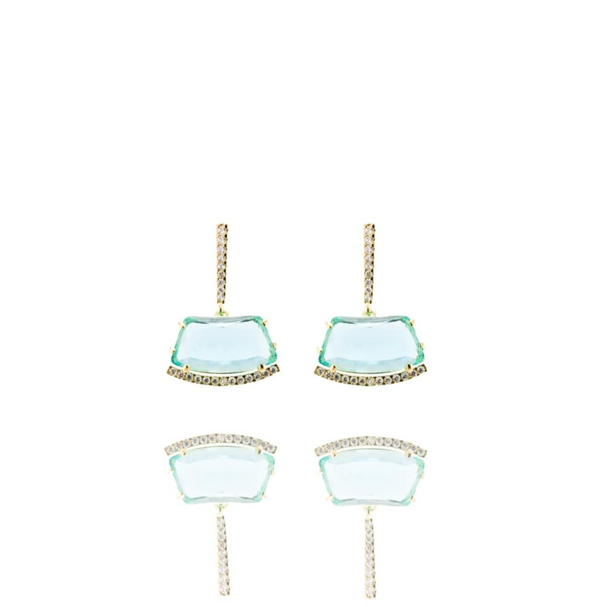Brinco Barbara Strauss Skirt Cristal Azul Acqua, Revestido Em Ouro 18K