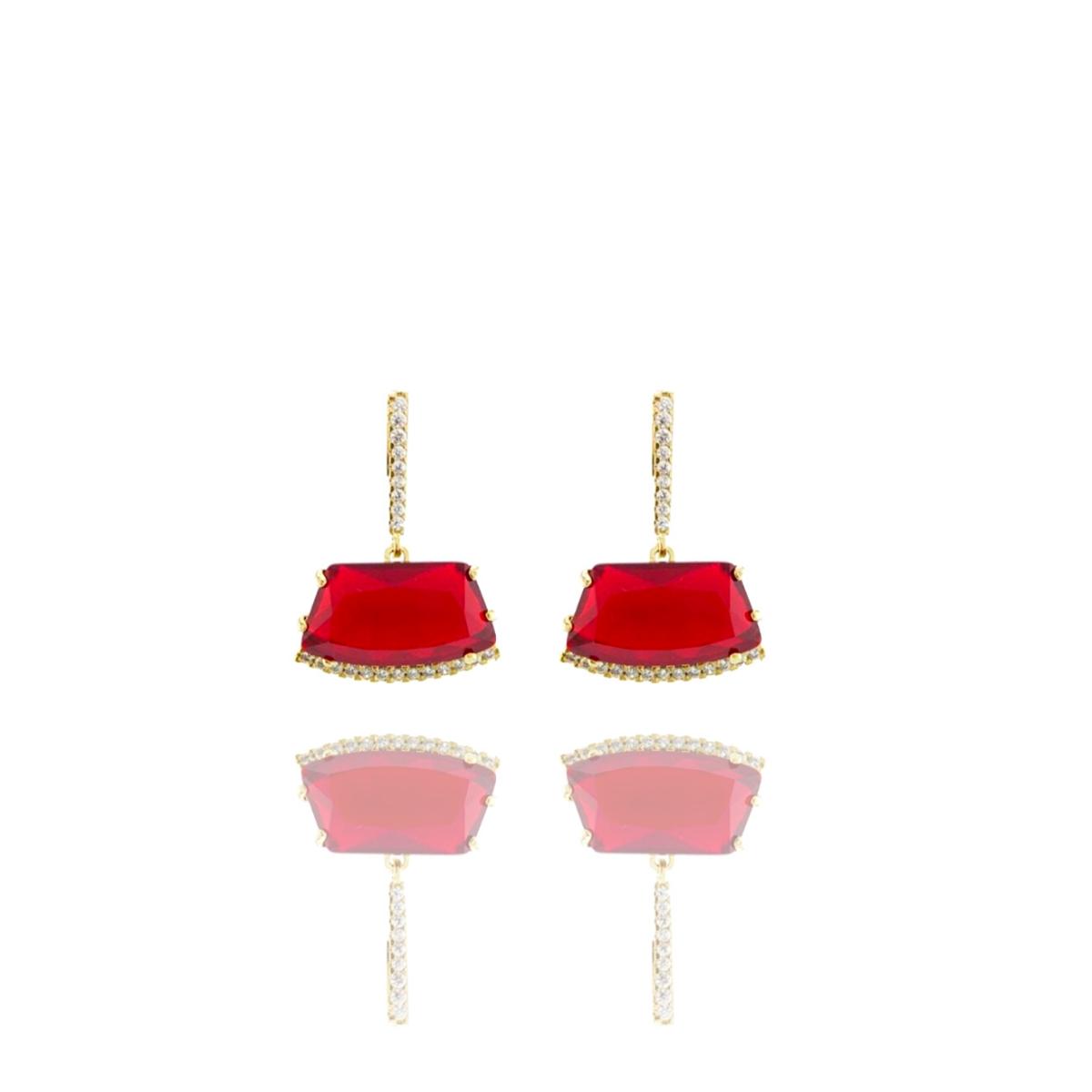 Brinco Barbara Strauss Skirt Cristal Vermelho, Revestido Em Ouro 18K