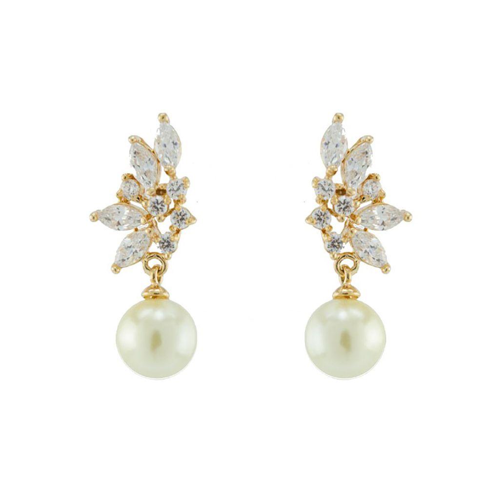 Brinco Barbara Strauss Véria Em Pérola Lalique E Zircônia, Revestido Em Ouro 18K