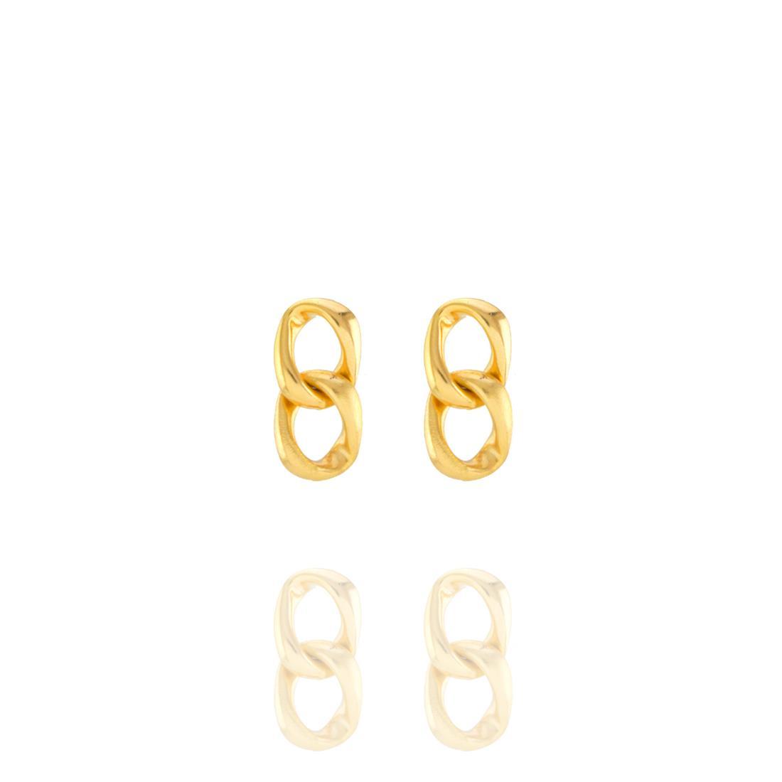 Brinco Dourado Elos Metal Banhado a Ouro Barbara Strauss