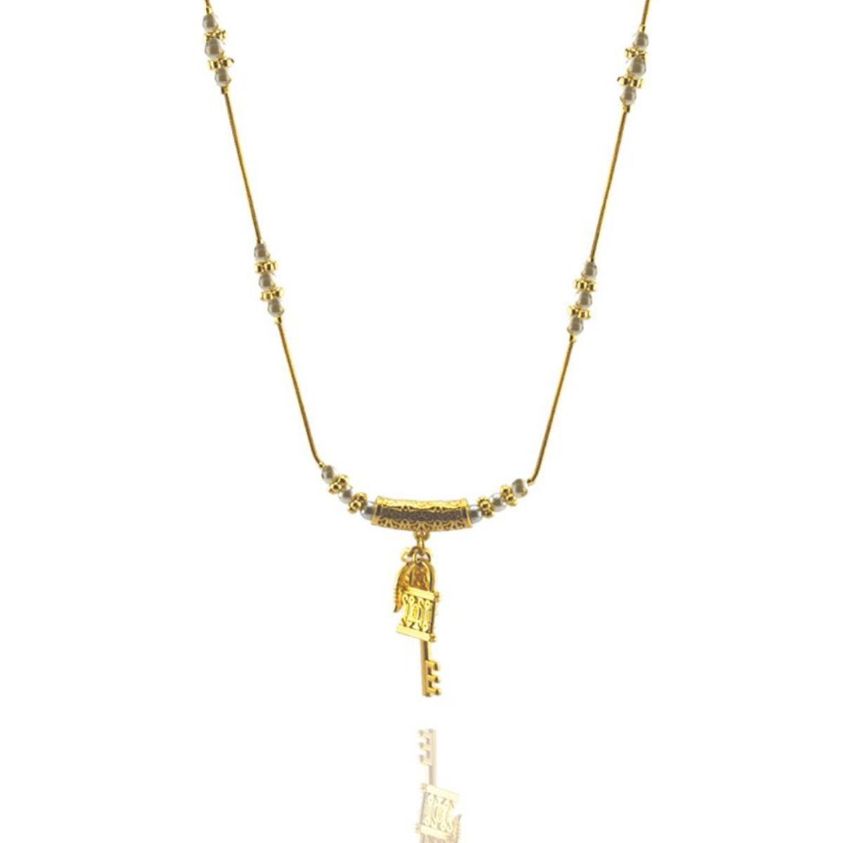 Colar Barbara Strauss Arabian Em Pérola Lalique, Revestido Em Ouro 18K