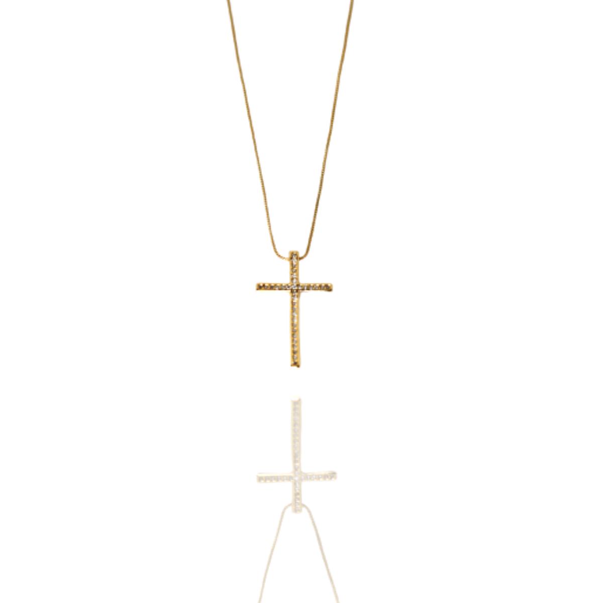 Colar Barbara Strauss Crucifixo Em Zircônia Transparente, Revestido Em Ouro 18K