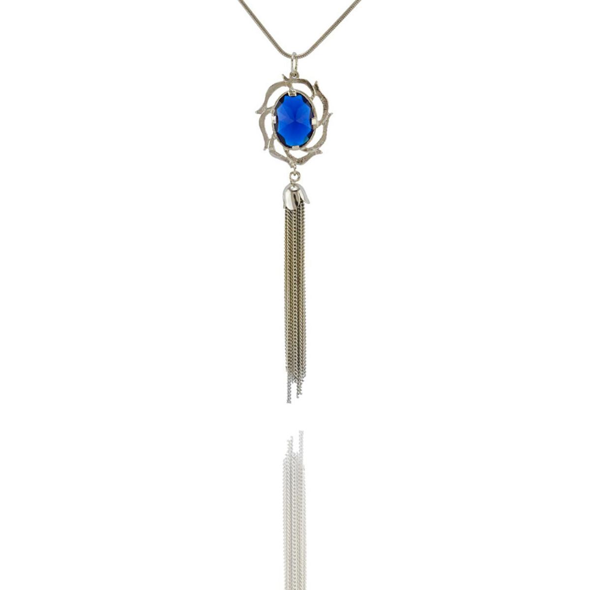 Colar Barbara Strauss Insígnia Em Cristal Azul, Revestido Em Ouro 18K