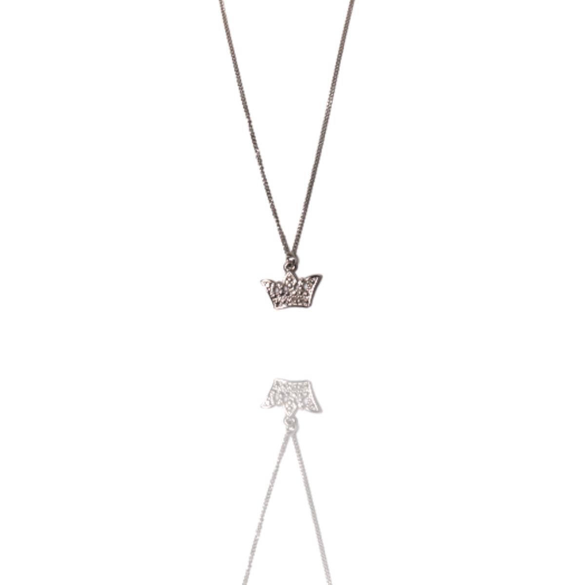 Colar Barbara Strauss Semi Joia Crown Em Metal, Revestido Em Ouro Branco 18K