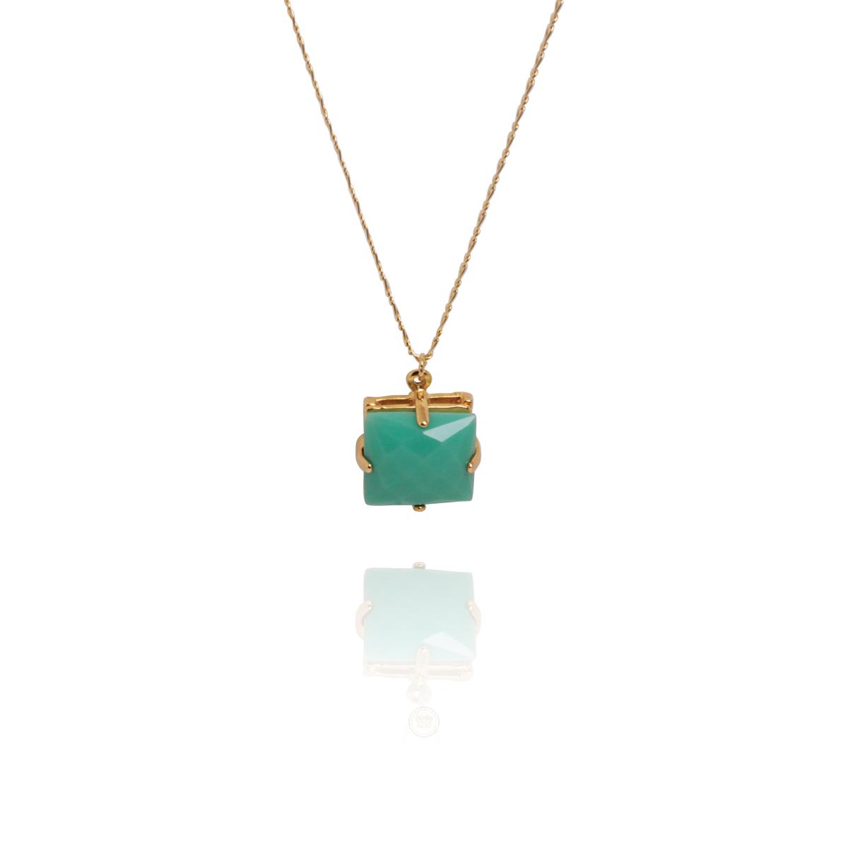 Colar Barbara Strauss Semi Joia Square Em Resina Lalique Verde, Rev. Em Ouro Amarelo 18K