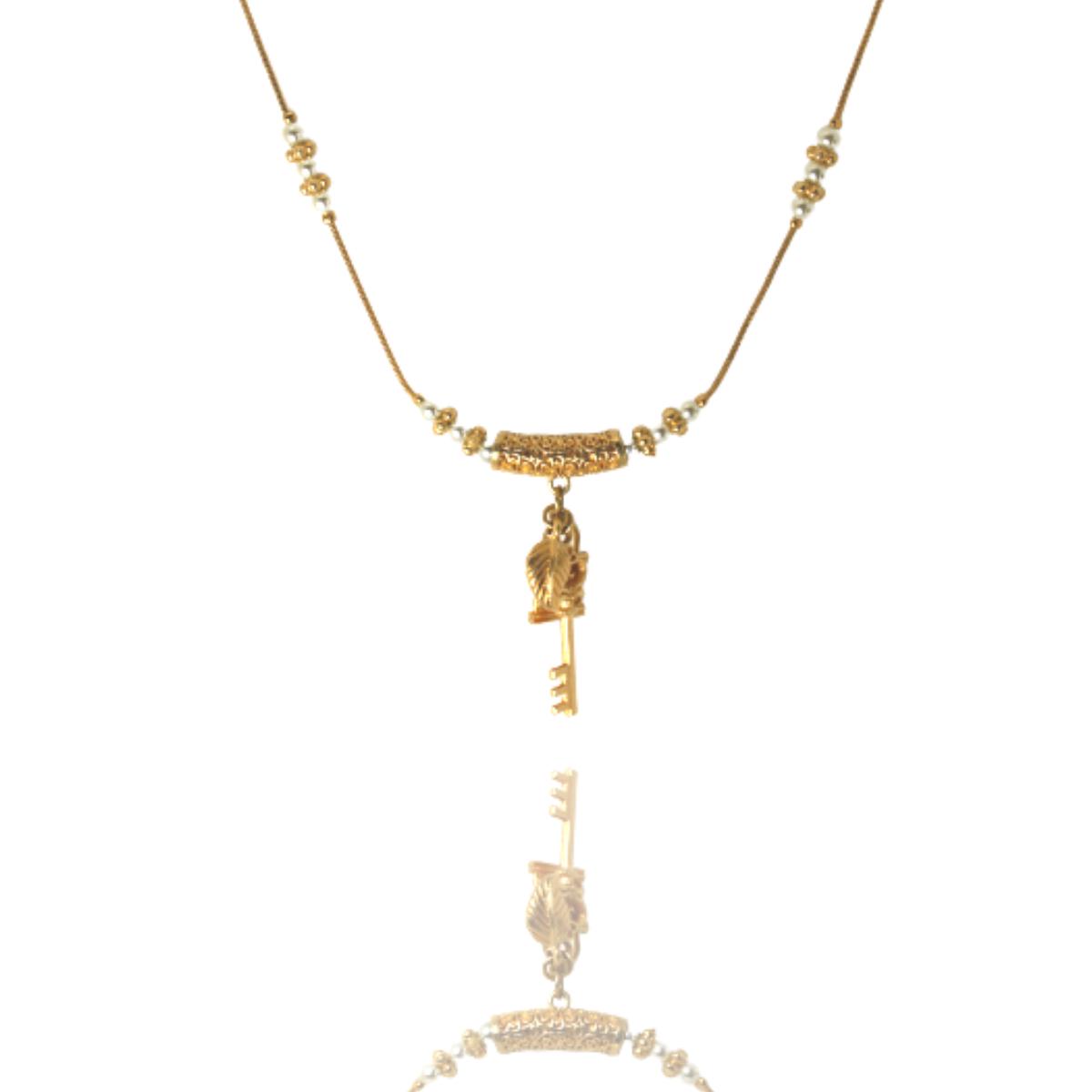 Colar Barbara Strauss Semi Joia Symbols Em Metal e Pérola Lalique, Rev. Em Ouro Amarelo 18K