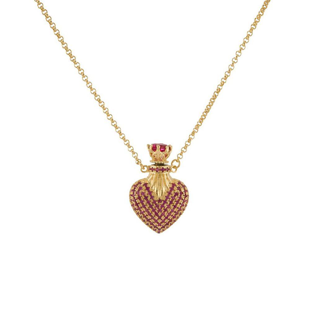 Colar Barbara Strauss Siena Coração Em Zircônia Rubi, Revestido Em Ouro 18K