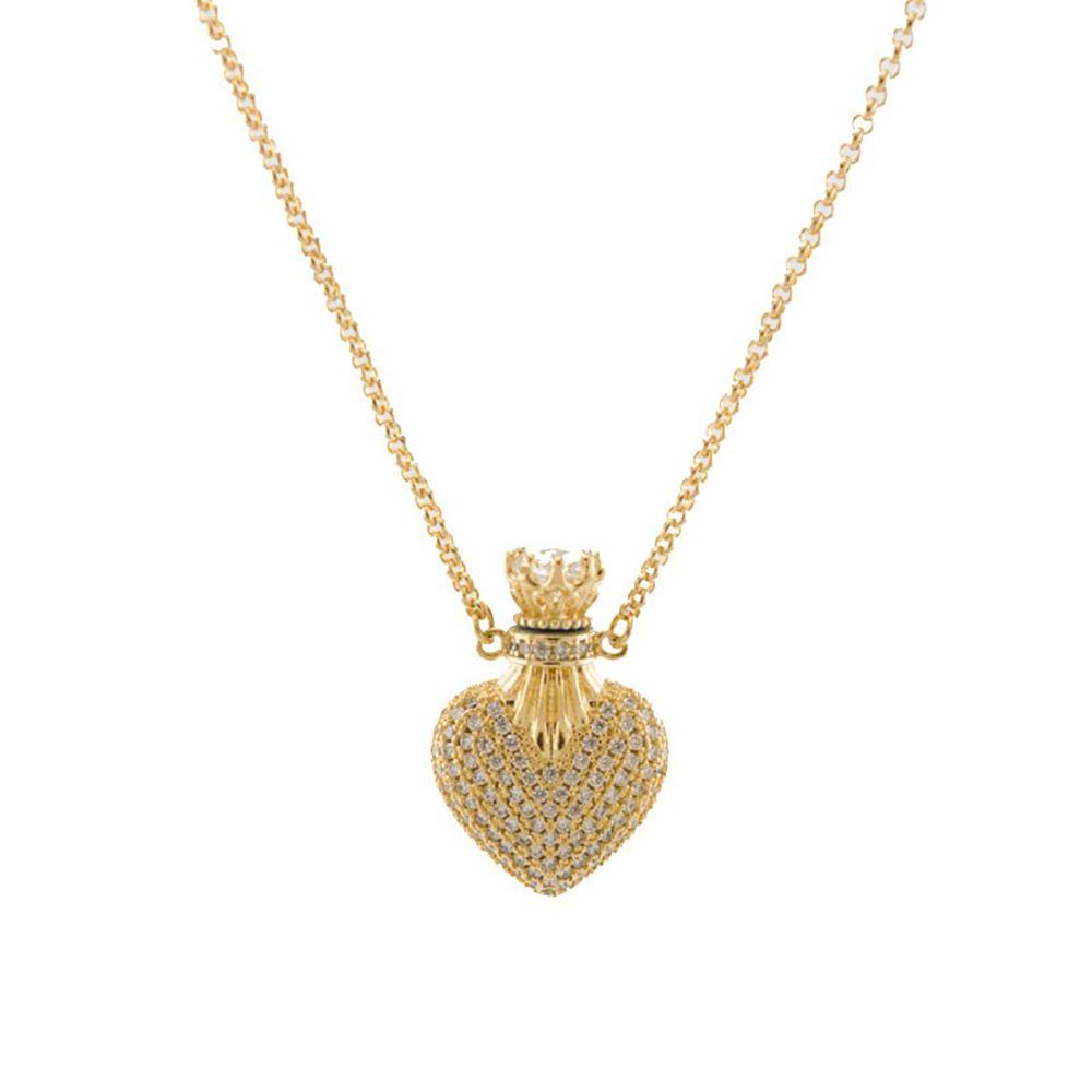 Colar Barbara Strauss Siena Coração Em Zircônia Transparente, Revestido Em Ouro 18K