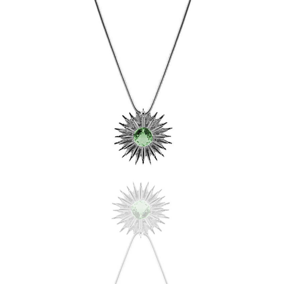 Colar Barbara Strauss Sol Em Cristal Verde, Revestido Em Ouro Branco 18K