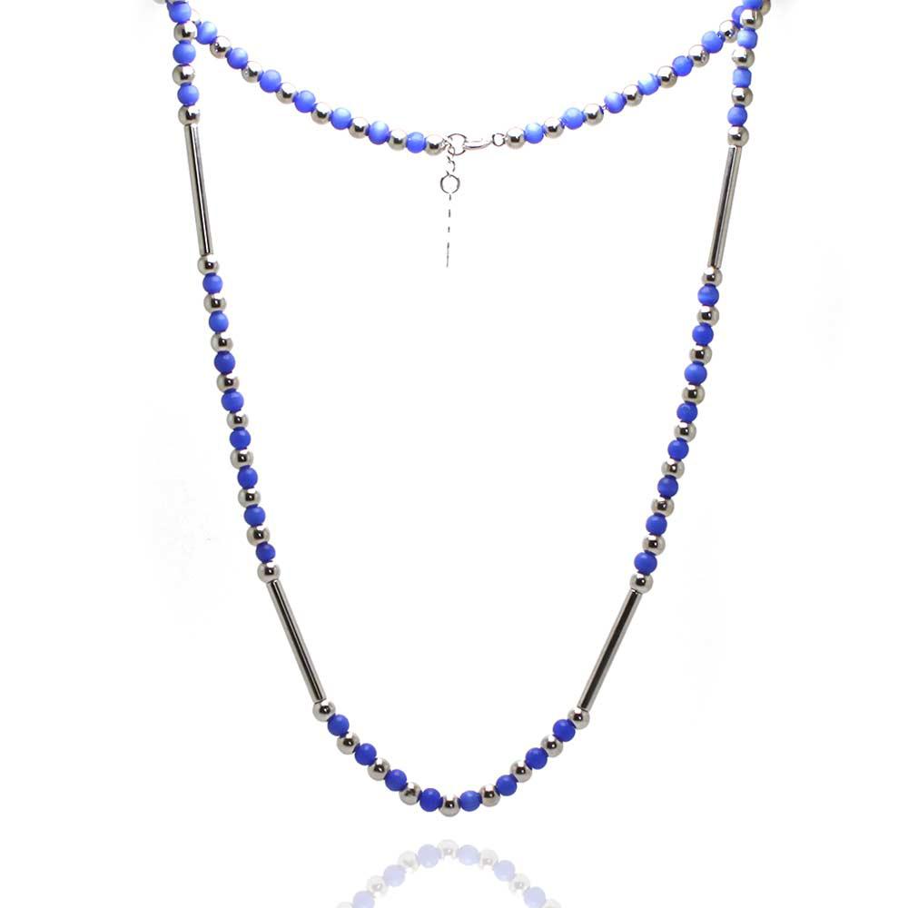 Colar Barbara Strauss Treviso Pedra Natural Olho De Gato Azul