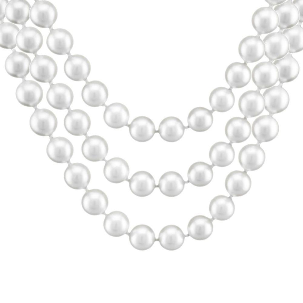 Colar Barbara Strauss Veneza Em Pérola Produzida Branca, Revestido Em Ouro 18K