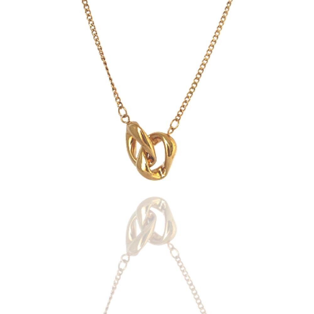 Colar Dourado Double Metal Banhado a Ouro Barbara Strauss
