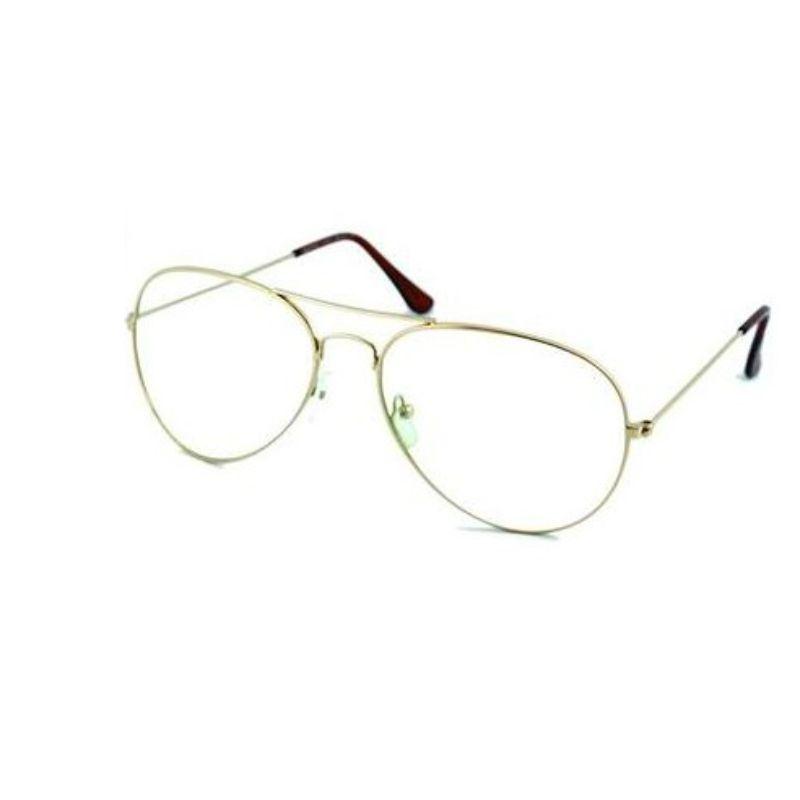 Óculos De Sol Barbara Strauss Aviador Em Aço Dourado Com Lente Transparente