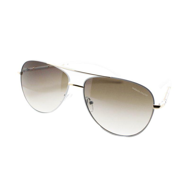 Óculos De Sol Barbara Strauss Aviador Em Aço Esmaltado Branco