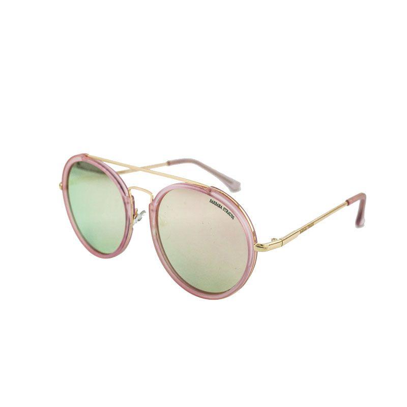 Óculos De Sol Barbara Strauss Blair Em Acetato Rosa E Lente Espelhada