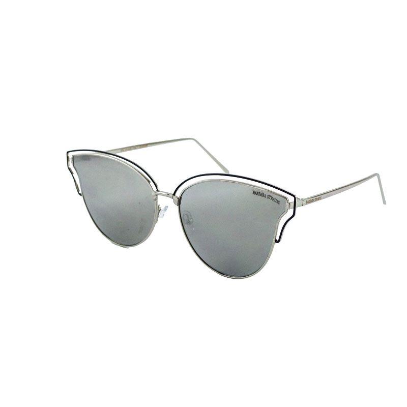 Óculos De Sol Barbara Strauss Guss  Em Prateado E Negro