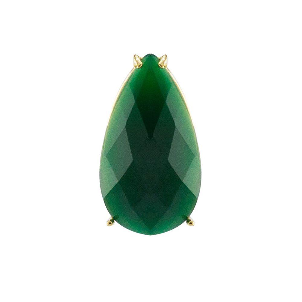 Pingente  Barbara Strauss Átria Em Quartzo Verde, Revestido Em Ouro 18K