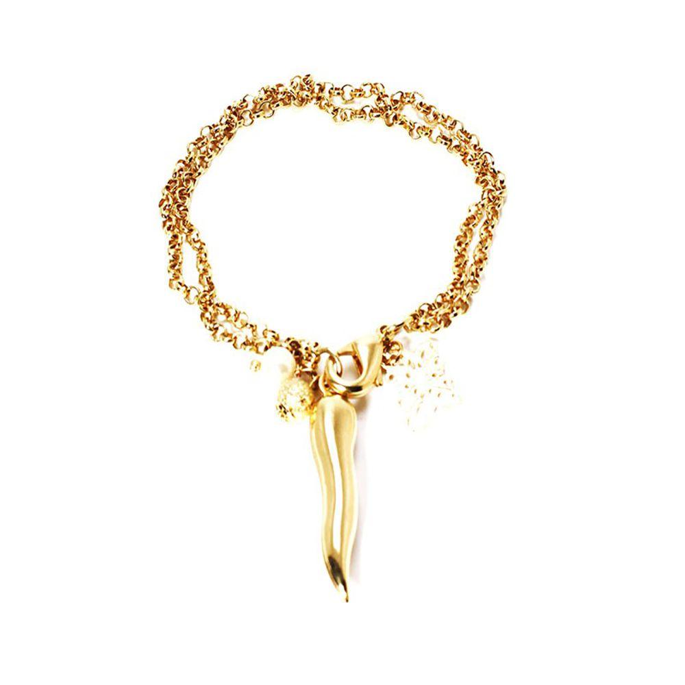 Pulseira Barbara Strauss Pimenta Em  Metal E Pérola Lalique, Revestido Em Ouro 18K
