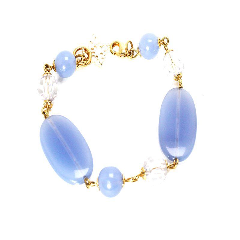 Pulseira Barbara Strauss Semi Joia Hillss Em Resina Lalique Azul, Rev. Em Ouro Amarelo 18k
