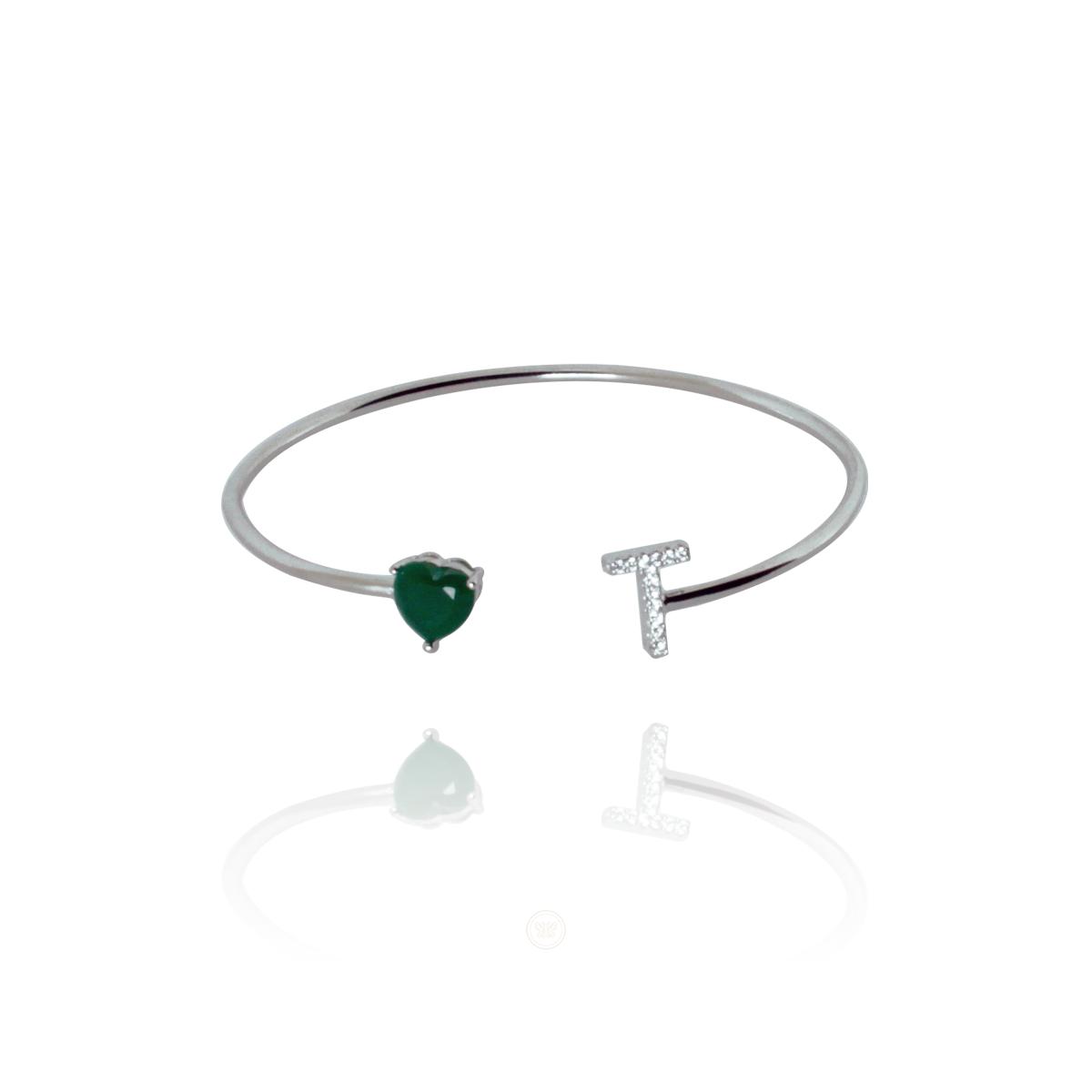 Bracelete Barbara Strauss Semi Joia Love T Em Quartzo Verde, Rev. Ouro Branco 18K
