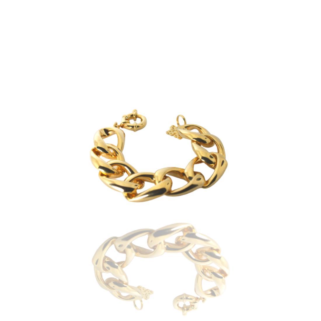Pulseira Dourada Bósnia Metal  Banhado Ouro Barbara Strauss