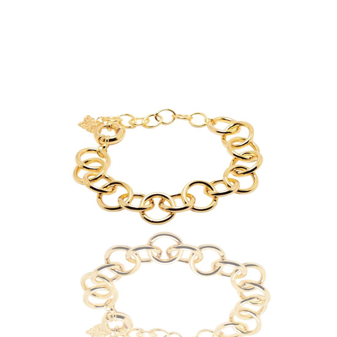 Pulseira Dourada Elos Metal Banhada a Ouro Barbara Strauss