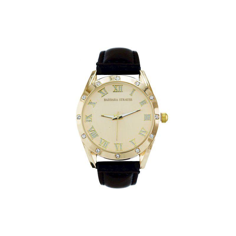 Relógio Barbara Strauss Em Couro Preto E Cristal Mineral