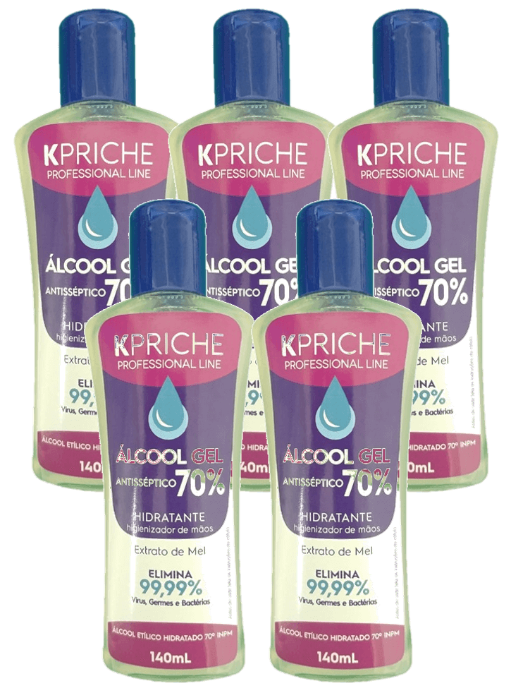 Kit Álcool Gel 70% Kpriche - 5x140mL